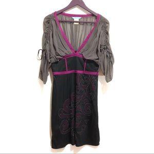 Marciano Silk Cinched Sleeve Appliqué Dress